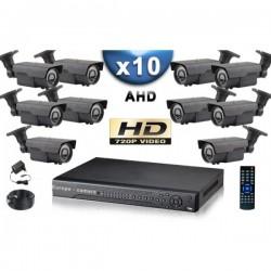 Kit PRO AHD 10 câmeras bullet IR 60m SONY HD 960P + gravador DVR AHD 2000 Go