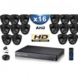 Kit PRO AHD 16 câmeras dome IR 20m SONY HD 960P + gravador DVR AHD 3000 Go