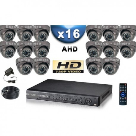 Kit PRO AHD 16 câmeras dome IR 35m SONY HD 960P + gravador DVR AHD 3000 Go