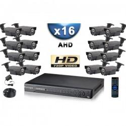 Kit PRO AHD 16 câmeras bullet IR 60m SONY HD 960P + gravador DVR AHD 3000 Go