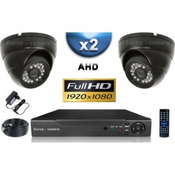 Kit PRO AHD 2 câmeras dome IR 20m SONY FULL HD 1080P + gravador DVR AHD FULL HD 1000 Go