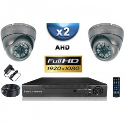 Kit PRO AHD 2 câmeras dome IR 35m SONY FULL HD 1080P + gravador DVR AHD FULL HD 1000 Go