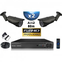 Kit PRO AHD 2 câmeras bullet IR 60m SONY FULL HD 1080P + gravador DVR AHD FULL HD 1000 Go