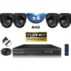 Kit PRO AHD 4 câmeras dome IR 20m SONY FULL HD 1080P + gravador DVR AHD FULL HD 2000 Go