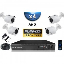 Kit PRO AHD 4 câmeras bullet IR 20m SONY FULL HD 1080P + gravador DVR AHD FULL HD 2000 Go