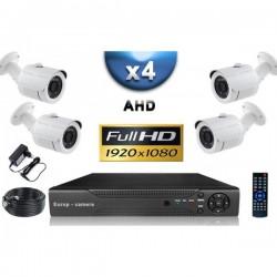 Kit PRO AHD : 4 câmeras bullets IR 20m SONY FULL HD 1080P + gravador DVR AHD FULL HD 2000 Go