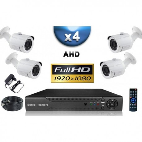 Kit PRO AHD 4 câmeras bullet IR 20m SONY FULL HD 1080P + gravador DVR AHD FULL HD 2000 Go