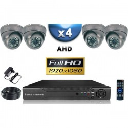 Kit PRO AHD 4 câmeras dome IR 35m SONY FULL HD 1080P + gravador DVR AHD FULL HD 2000 Go