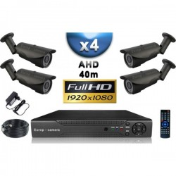 Kit PRO AHD 4 câmeras bullet IR 40m SONY FULL HD 1080P + gravador DVR AHD FULL HD 2000 Go