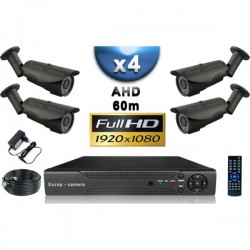 Kit PRO AHD 4 câmeras bullet IR 60m SONY FULL HD 1080P + gravador DVR AHD FULL HD 2000 Go
