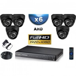 Kit PRO AHD 6 câmeras dome IR 20m SONY FULL HD 1080P + gravador DVR AHD FULL HD 2000 Go