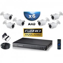 Kit PRO AHD 6 câmeras bullet IR 20m SONY FULL HD 1080P + gravador DVR AHD FULL HD 2000 Go