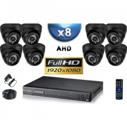 Kit PRO AHD 8 câmeras dome IR 20m SONY FULL HD 1080P + gravador DVR AHD FULL HD 3000 Go