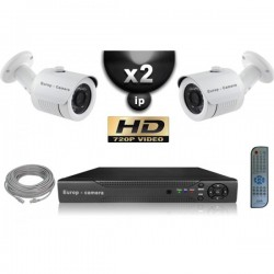Kit PRO IP 2 câmeras bullet POE IR 20m OMNIVISION 720P + gravador NVR 8 canais H264 FULL HD 1000 Go