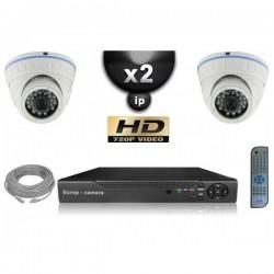 Kit PRO IP 2 câmeras dome POE IR 20m OMNIVISION 720P + gravador NVR 8 canais H264 FULL HD 1000 Go