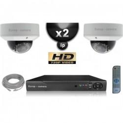 Kit PRO IP 2 câmeras dome POE IR 25m OMNIVISION 720P + gravador NVR 8 canais H264 FULL HD 1000 Go