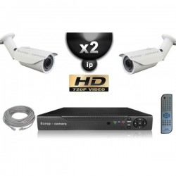 Kit PRO IP 2 câmeras bullet POE IR 40m OMNIVISION 720P + gravador NVR 8 canais H264 FULL HD 1000 Go