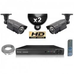 Kit PRO IP 2 câmeras bullet POE IR 60m OMNIVISION 720P + gravador NVR 8 canais H264 FULL HD 1000 Go