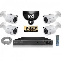 Kit PRO IP 4 câmeras bullet POE IR 20m OMNIVISION 720P + gravador NVR 8 canais H264 FULL HD 2000 Go