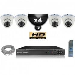 Kit PRO IP 4 câmeras dome POE IR 20m OMNIVISION 720P + gravador NVR 8 canais H264 FULL HD 2000 Go