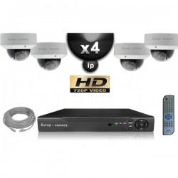 Kit PRO IP 4 câmeras dome POE IR 25m OMNIVISION 720P + gravador NVR 8 canais H264 FULL HD 2000 Go