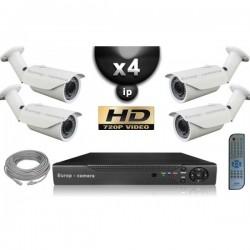 Kit PRO IP 4 câmeras bullet POE IR 40m OMNIVISION 720P + gravador NVR 8 canais H264 FULL HD 2000 Go