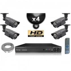 Kit PRO IP 4 câmeras bullet POE IR 60m OMNIVISION 720P + gravador NVR 8 canais H264 FULL HD 2000 Go