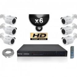 Kit PRO IP 6 câmeras bullet POE IR 20m OMNIVISION 720P + gravador NVR 8 canais H264 FULL HD 2000 Go