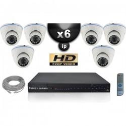 Kit PRO IP 6 câmeras dome POE IR 20m OMNIVISION 720P + gravador NVR 8 canais H264 FULL HD 2000 Go