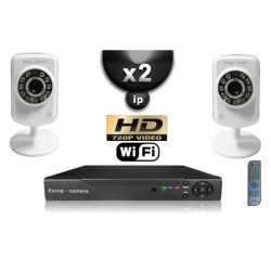 Kit PRO IP 2 câmeras WIFI IR 8m HD 720P + gravador NVR H264 FULL HD 1000 Go