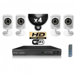 Kit PRO IP 4 câmeras WIFI IR 8m HD 720P + gravador NVR H264 FULL HD 2000 Go