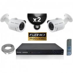 Kit PRO IP 2 câmeras bullet POE IR 20m SONY 1080P + gravador NVR 8 canais H264 FULL HD 2000 Go