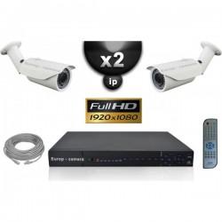 Kit PRO IP 2 câmeras bullet POE IR 40m SONY 1080P + gravador NVR 8 canais H264 FULL HD 2000 Go