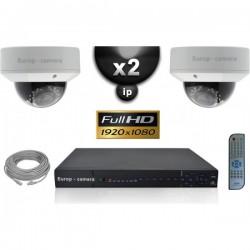 Kit PRO IP 2 câmeras dome POE IR 25m SONY 1080P + gravador NVR 8 canais H264 FULL HD 2000 Go