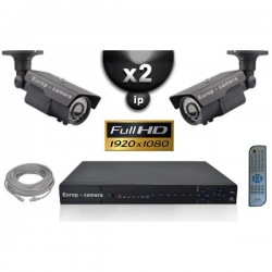 Kit PRO IP 2 câmeras bullet POE IR 60m SONY 1080P + gravador NVR 8 canais H264 FULL HD 2000 Go