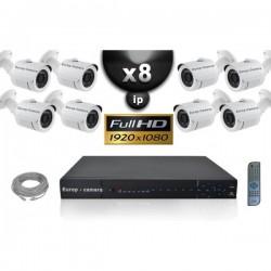 Kit PRO IP 8 câmeras bullet POE IR 20m SONY 1080P + gravador NVR 24 canais H264 FULL HD 3000 Go