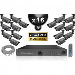 Kit PRO IP 16 câmeras bullet POE IR 60m SONY 1080P + gravador NVR 16 canais H264 FULL HD 3000 Go
