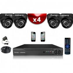 Kit ECO FULL D1: 4 câmeras domes CMOS 800 linhas + gravador DVR 500 Go