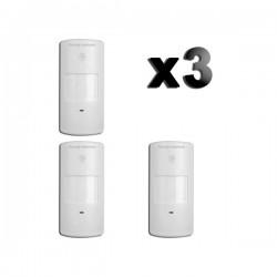 Conjunto de 3 detectores de movimento PIR simples sem fio