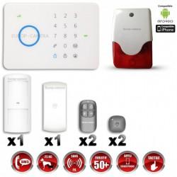 Sistema de alarme GSM sem fio com imunidade aos animais 25 Kg + Sirene flash interior G5 / S5
