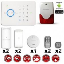 Sistema de alarme GSM sem fio com imunidade aos animais 25 Kg : anti-incêndio + sirene flash interior G5 / S5