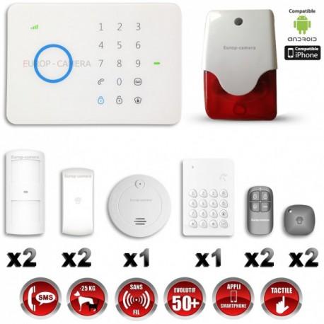 Sistema de alarme GSM sem fio com imunidade aos animais 25 Kg : Anti-incêndio + Teclado + Sirene flash interior G5 / S5