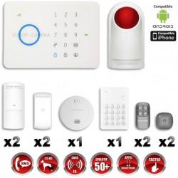 Sistema de alarme GSM sem fio com imunidade aos animais 25 Kg : anti-incêndio + teclado + sirene flash com bateria G5 / S5