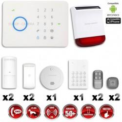 Sistema de alarme GSM sem fio com imunidade aos animais 25 Kg: Anti-incêndio + Teclado + Sirene flash solar G5 / S5