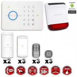 Sistema de alarme GSM sem fio com imunidade aos animais 25 Kg + Sirene flash solar com bateria integrada G5 / S5