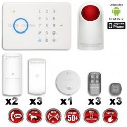 Sistema de alarme GSM sem fio com imunidade aos animais 25 Kg: Anti-incêndio + Sirene flash com bateria integrada G5 / S5