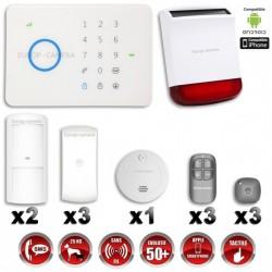 Sistema de alarme GSM sem fio com imunidade aos animais 25 Kg: Anti-incêndio + Sirene flash solar com bateria integrada G5 / S5