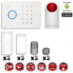 Sistema de alarme GSM sem fio com imunidade aos animais 25 Kg + Sirene flash com bateria integrada G5 / S5