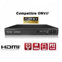Gravador digital NVR via rede 8 canais H264 IP ONVIF 1080P HD
