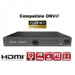 Gravador digital NVR via rede 16 canais H264 IP ONVIF 1080P FULL HD
